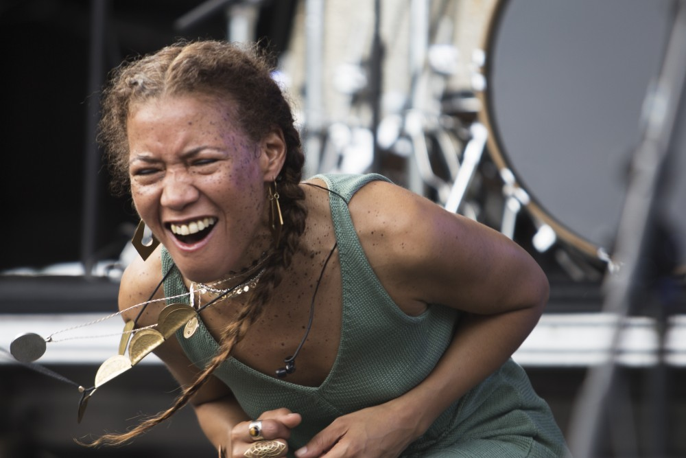 Vocalist Patrice Quinn dances to the rest of Kamasi Washington's band at Rock the Garden on Saturday, June 16.