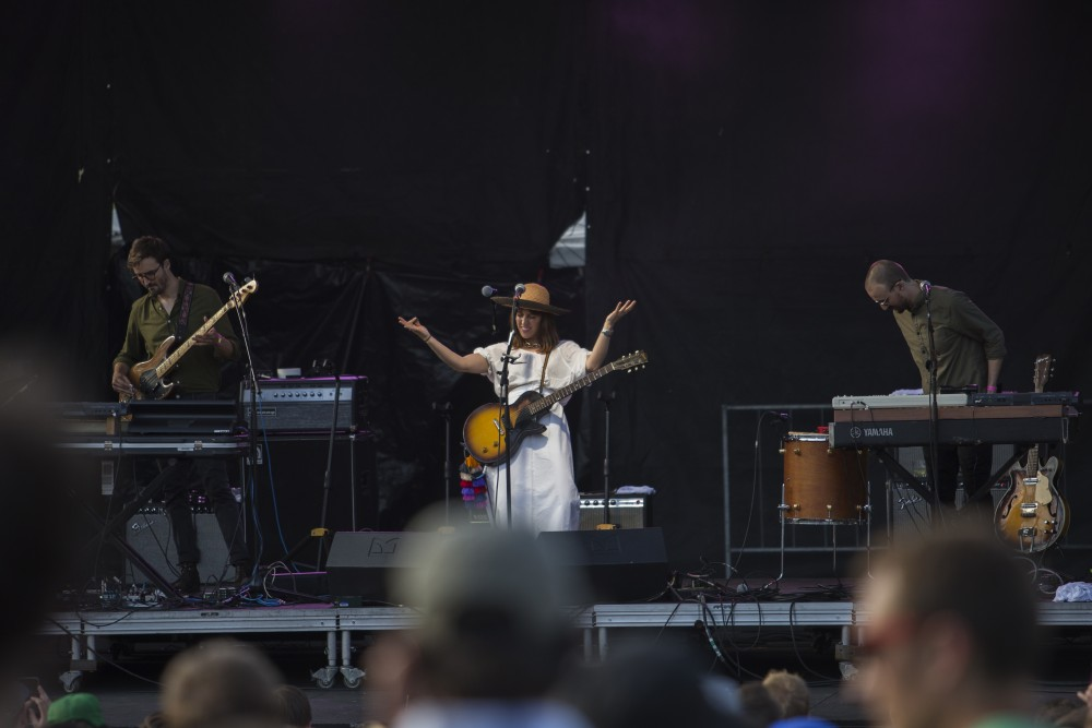 Feist welcomes fans to her set at Rock the Garden on Saturday, June 16.