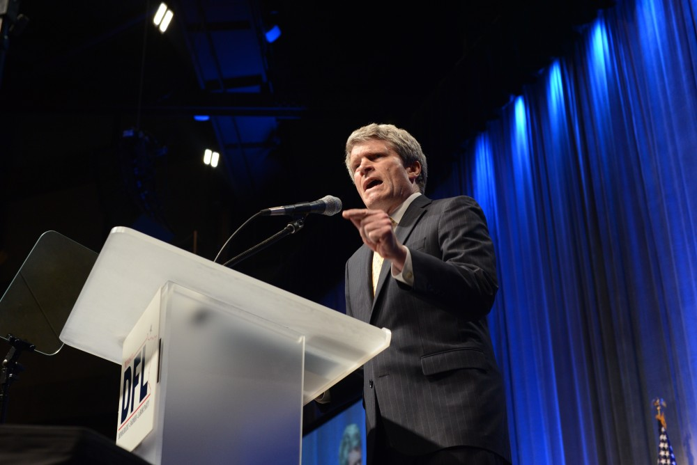 Richard Painter, a law professor at the University of Minnesota and former lawyer for President George W. Bush, speaks at the DFL Convention at Mayo Civic Center in Rochester, Minnesota on Friday, June 1, 2018. Painter is running for U.S. Senate and did not win the DFL endorsement.
