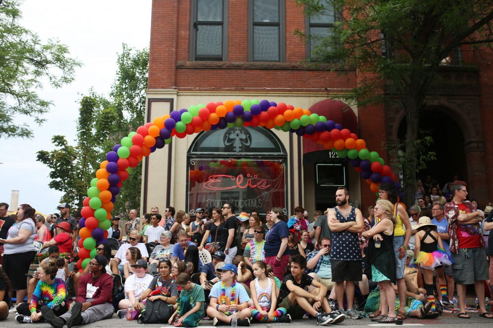 Parade spectators wait for the 2018 pride parade to begin on Sunday, June 24 in MInneapolis.