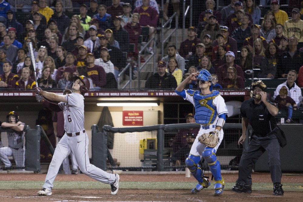 Shortstop Terrin Vavra eyes his hit during the game against UCLA on Saturday, June 2, 2018 at Siebert Field. The Gophers won 3-2.