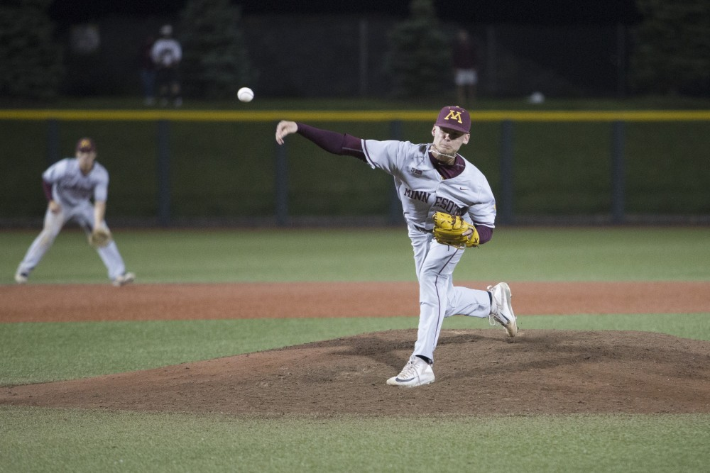 Freshman Max Meyer closes out the game against UCLA on Saturday, June 2, 2018 at Siebert Field. The Gophers won 3-2.