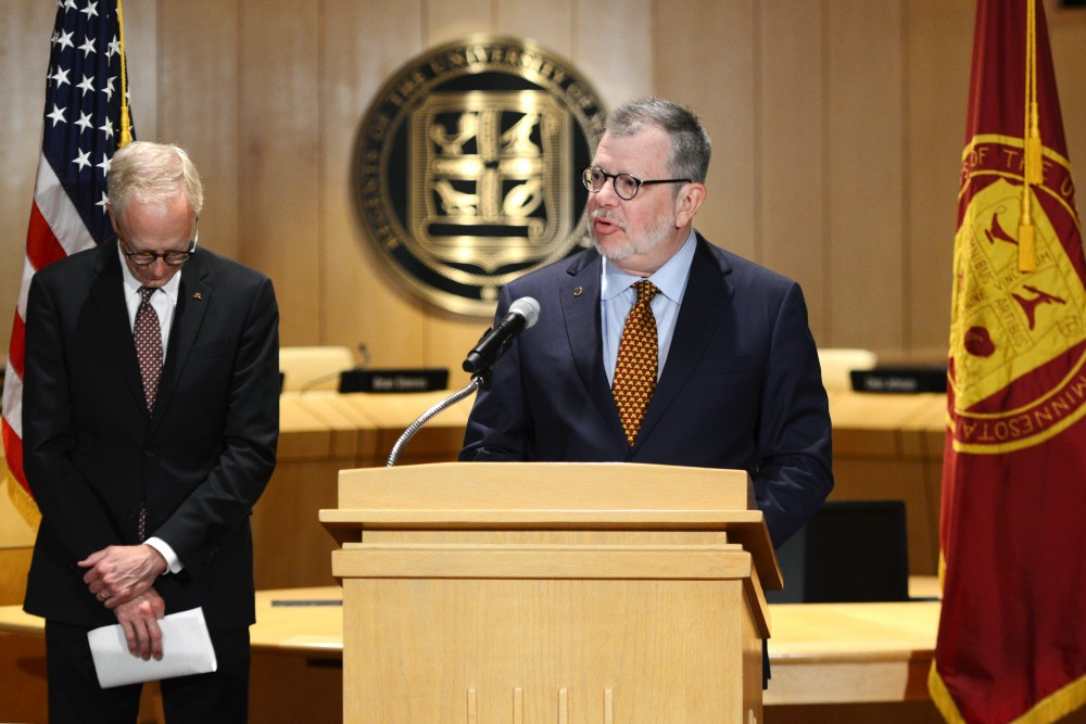 University President Eric Kaler fields questions after stepping down as president one year before his term is scheduled to end on July 13, 2018 at McNamara Alumni Center.