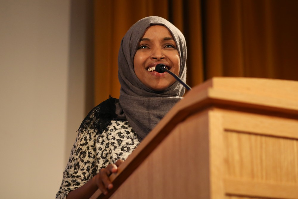 Ilhan Omar, who formerly held the 60B Senate seat, introduces a forum of candidates that could replace her seat on Monday, July 16 at Cowles Auditorium.