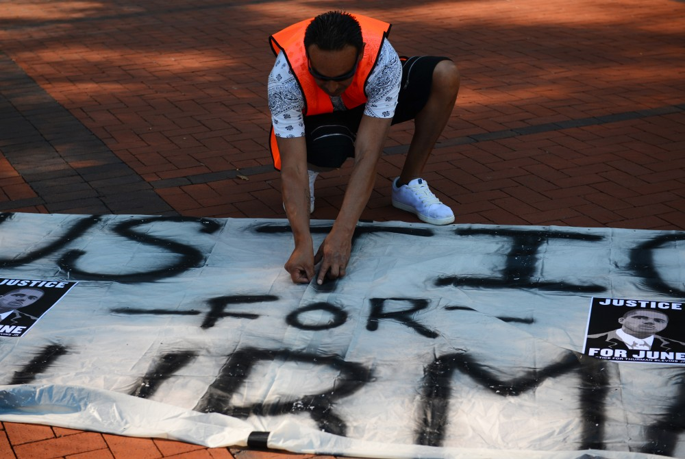 <p>A protest occurred in downtown Minneapolis on Tuesday, July 31, 2018 after the announcement to not charge the two police officers involved in the death of Thurman Blevins. </p>
