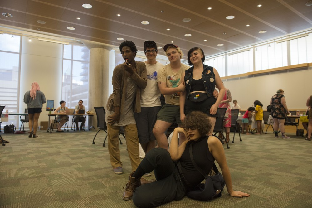 University students and zine creators pose for a photo on Saturday, Sept. 15, 2018 at Minneapolis Central Library. People around the Twin Cities area participate in the Twin Cities Zine Fest.