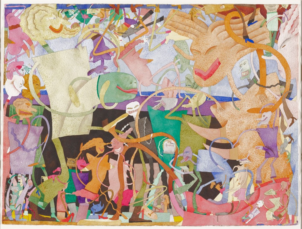 The painting, Jardin Man, 1970, by Gladys Nilsson, is displayed at the Minneapolis Institute of Arts exhibit, Art from Chicago.