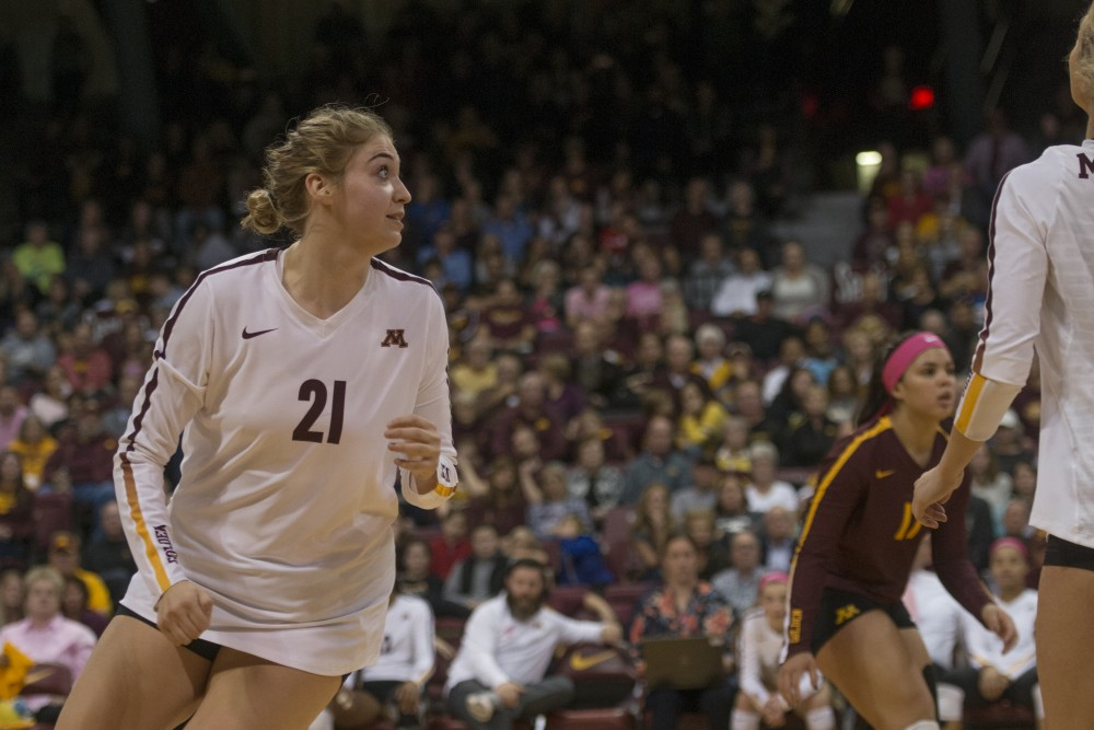 Redshirt Sophomore Regan Pittman plays during the Gopher game against Purdue on Wednesday, Sept. 11th, 2017 at the Maturi Pavilion.