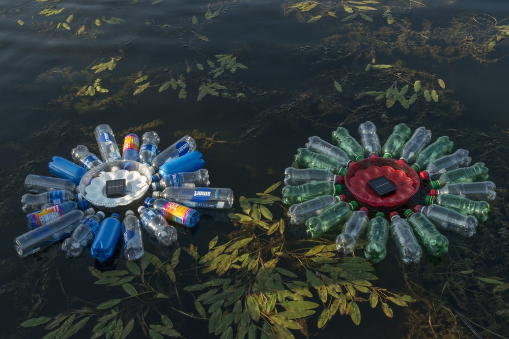 A work of art created by Mayumi Amada, made from trash out of Lake Hiawatha, is seen on Saturday, Sept 8 in Minneapolis.