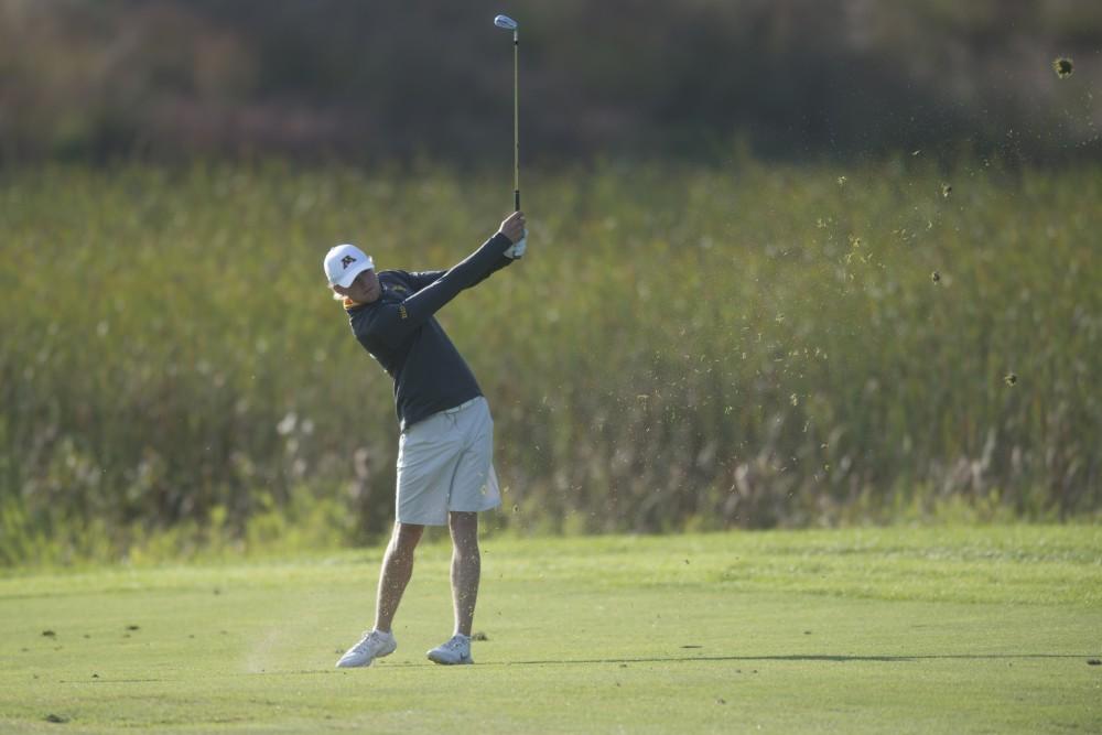 Junior Thomas Longbella plays during the Gopher Invitational on Sunday, Sept. 9 at Windsong Farm Golf Club in Maple Plain, Minnesota.