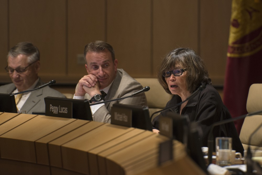 Peggy Lucas speaks during the University's Board of Regents meeting on Friday, Sept. 14 at the McNamara Alumni Center on East Bank.