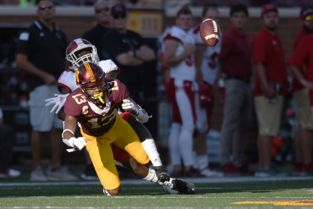 Freshman Rashod Bateman attempts to catch the ball on Saturday, Sept. 15 at TCF Bank Stadium in Minneapolis.