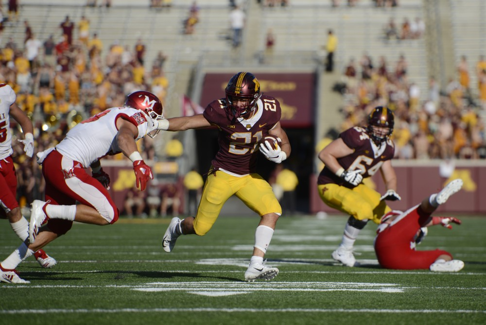 Freshman Bryce Williams keeps the ball away Miami University on Saturday, Sept. 14 at TCF Bank Stadium in Minneapolis.