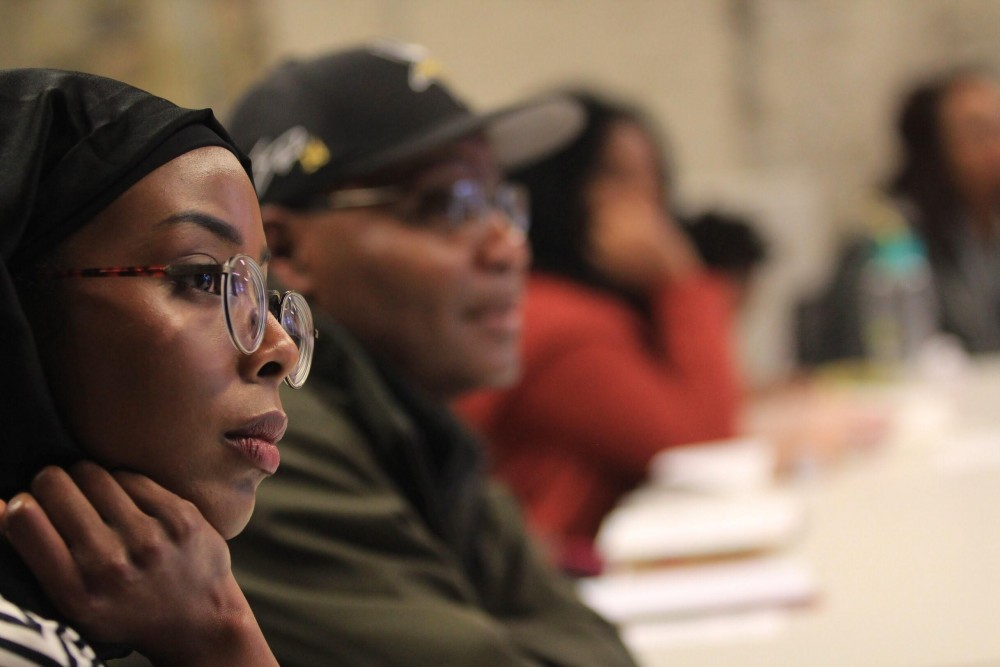 The group Black Lines Matter conducts a session.