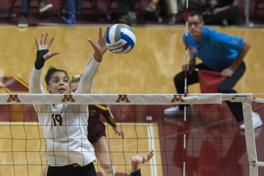 Outside hitter Alexis Hart jumps to set the ball at the Maturi Pavilion on Wednesday, Sept. 19. The Gophers defeated Penn State for their Big Ten opener in straight sets.
