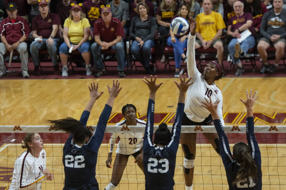 Opposite hitter Stephanie Samedy jumps for the ball during the match against the Nittany Lions on Wednesday, Sept. 19 at Maturi Pavilion.