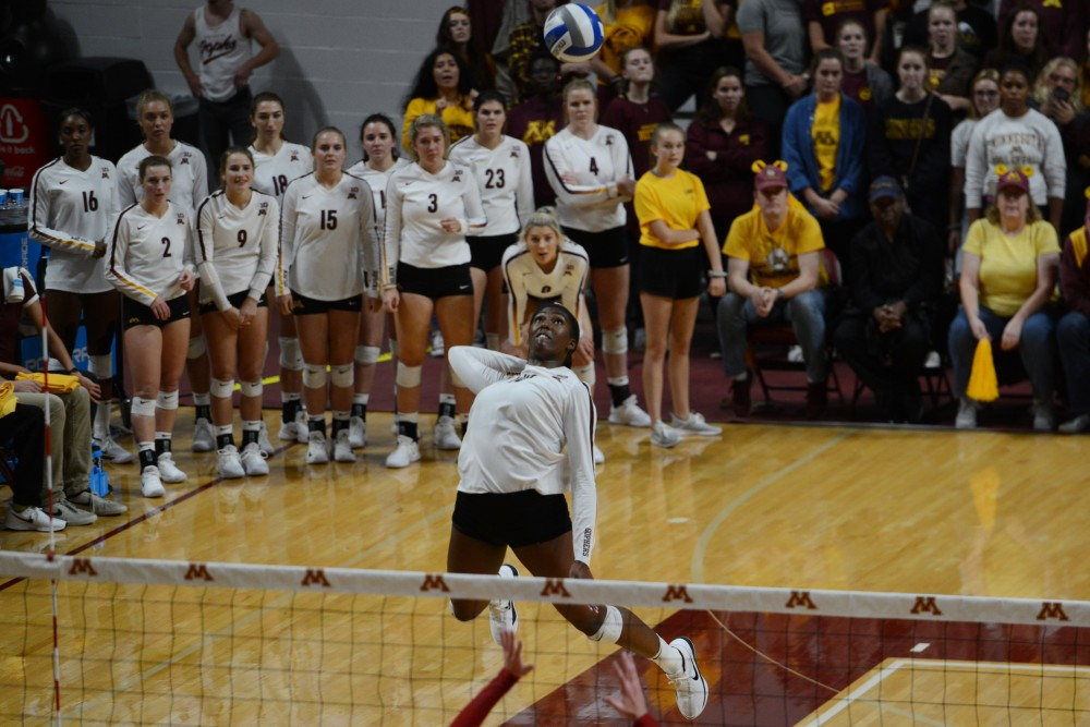 Sophomore Stephanie Samedy spikes the ball on Tuesday, Sept. 26 at Maturi Pavilion. The Gophers beat the fifth-ranked Wisconsin Badgers in three straight sets. Samedy had 14 kills, and leading the Gophers in kills for the seventh straight game.