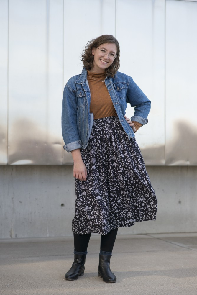 Zoe Long poses for a portrait in front of Weisman Art Museum on Friday, Sept. 28.