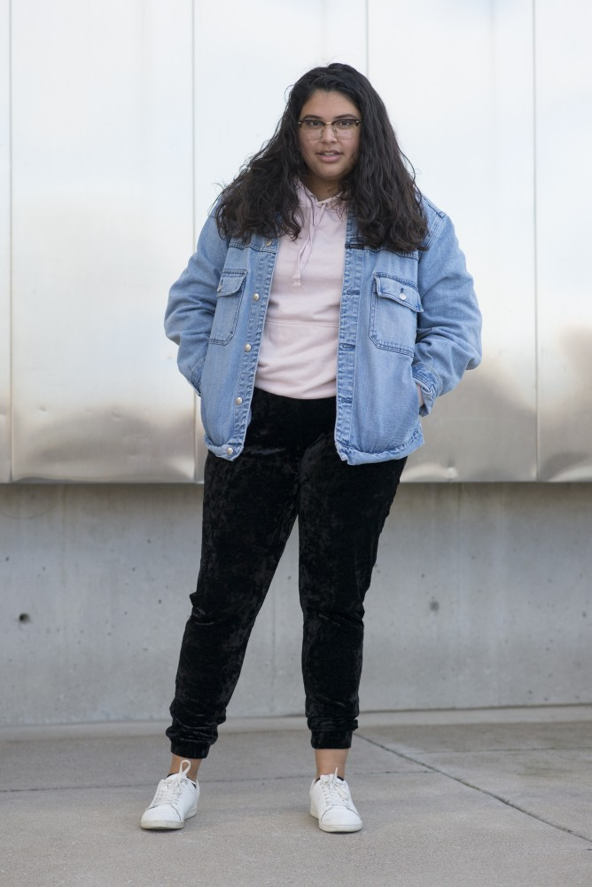 Ruby Wesley poses for a portrait in front of Weisman Art Museum on Friday, Sept. 28.