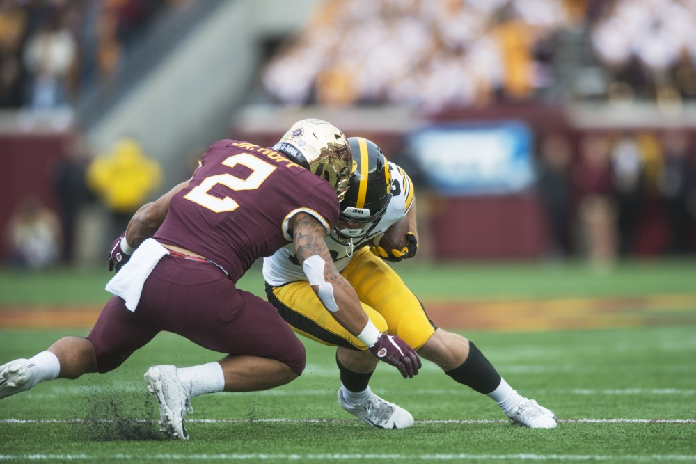 Defensive back Jacob Huff goes in for the tackle on Saturday, Oct. 6. at TCF Bank Stadium. The Hawkeyes defeated the Gophers 48-31.