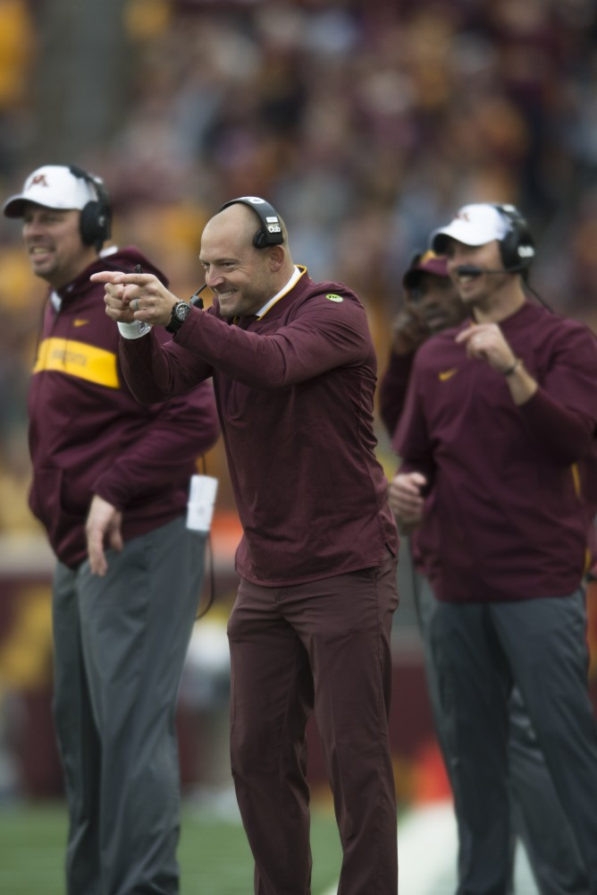 Head coach P.J. Fleck celebrates on Saturday, Oct. 6 at TCF Bank Stadium. The Hawkeyes defeated the Gophers 48-31.