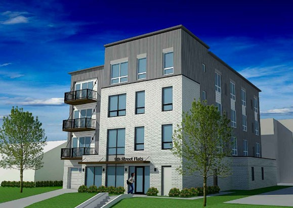 A rendering of a proposed apartment building at 334 9th Street SE