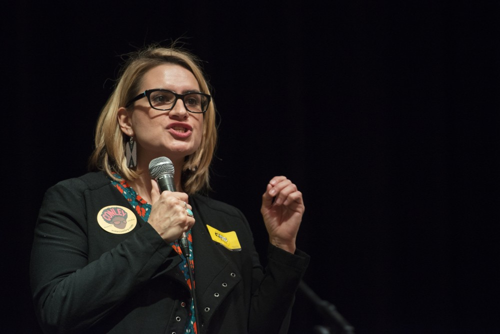 Candidate for Lieutenant Governor Peggy Flanagan spoke to students and staff at the Vote Concert on Thursday, Oct. 18, in the Coffman Great Hall. Flanagan, a University alumni, noted that she is still paying off loans.