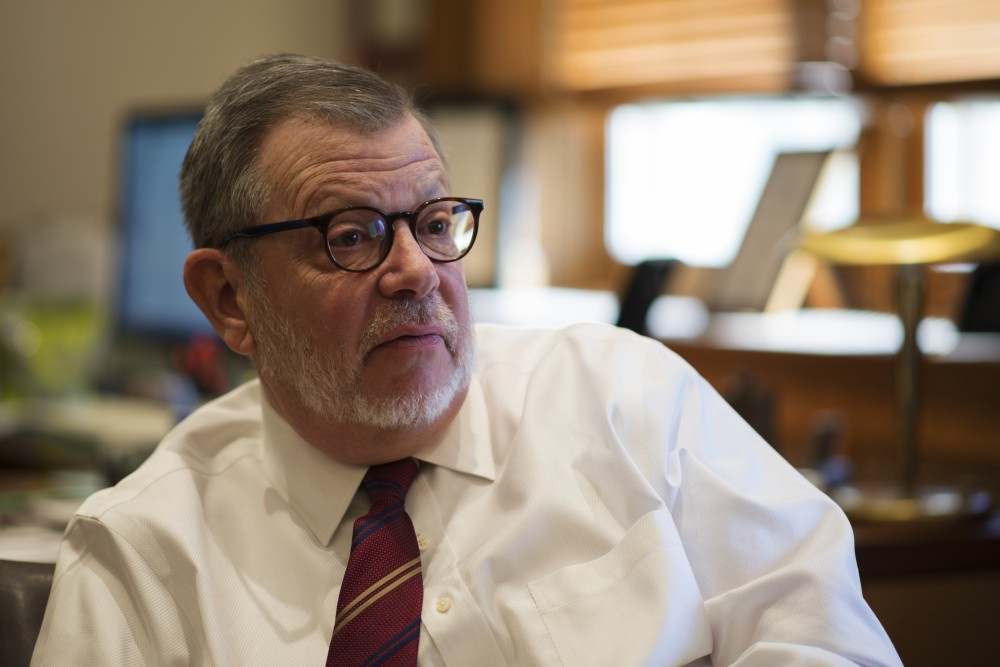 President Eric Kaler fields questions in his office in Morrill Hall on Thursday, Oct. 18.