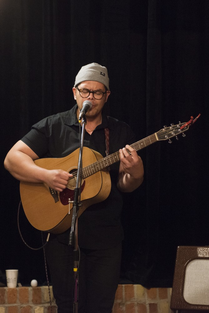 Regional Dialect singer Mathias Hertel performs at Bummer Strummer Sessions at Five Watt Coffee on Friday, Oct. 21.
