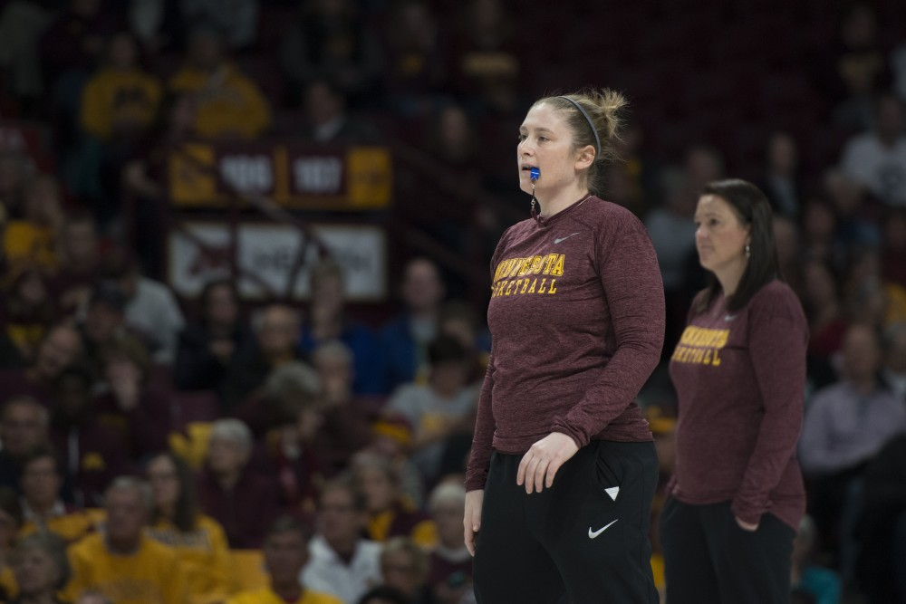 Coach Lindsay Whalen prepares to blow the whistle during Gopher women's basketball's annual exhibition versus the men's scout team on Saturday, Oct. 20, 2018 at Williams Arena.