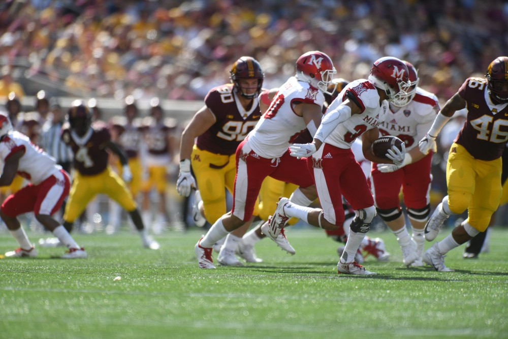 Miami carries the ball on Saturday, Sept. 15 at TCF Bank Stadium in Minneapolis.