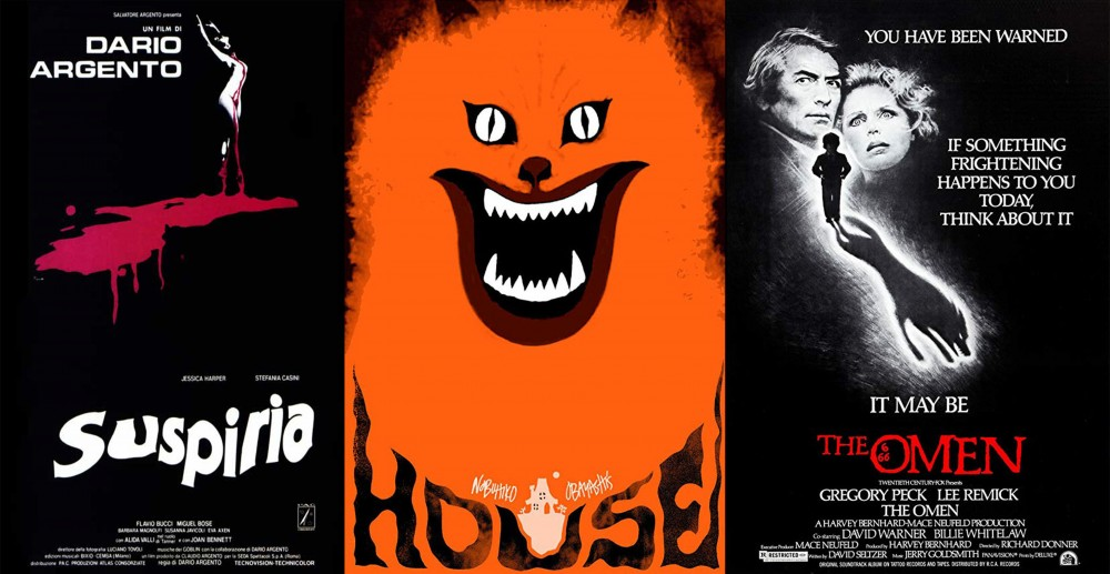 Movie posters for Suspiria (1977), Hausu (1977) and The Omen (1976)
