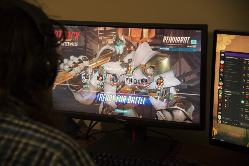 Noah Wrolson plays a game of Overwatch with the University ESports team on Sunday, Oct. 28. Each game of Overwatch takes 45 minutes to an hour, and they usually play two during their weekly tournaments.
