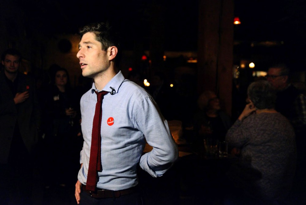 Ward 3 City Council Member Jacob Frey speaks to the crowd at his election party at Jefe Urban Hacienda in Minneapolis on Tuesday.