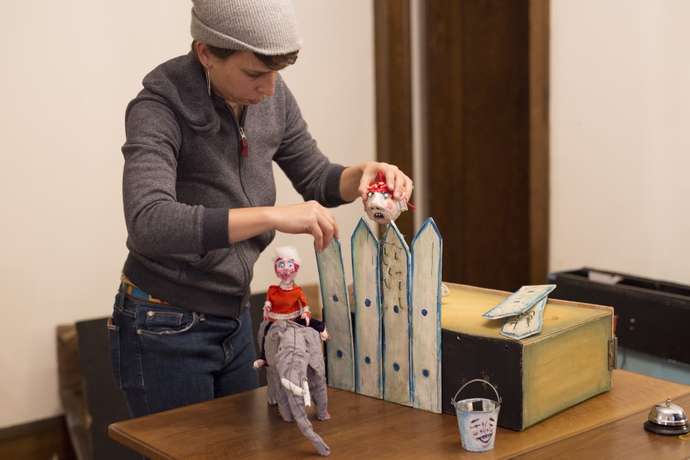 Professional Puppeteer Liz Howls demonstrates a part of her show on Friday, Oct. 26, 2018. Howls performs shows in the Minneapolis area.