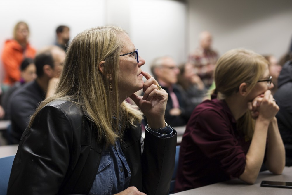 Faculty listen in on the future of the St. Paul campus on Friday October 24, 2018 in Ruttan Hall.