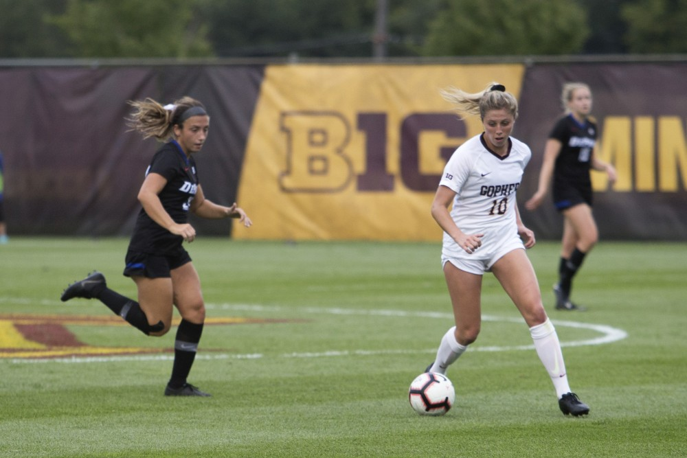 Senior Emily Heslin handles the ball during the game against DePaul on Thursday, Aug. 30, 2018 at Elizabeth Lyle Robbie Stadium.