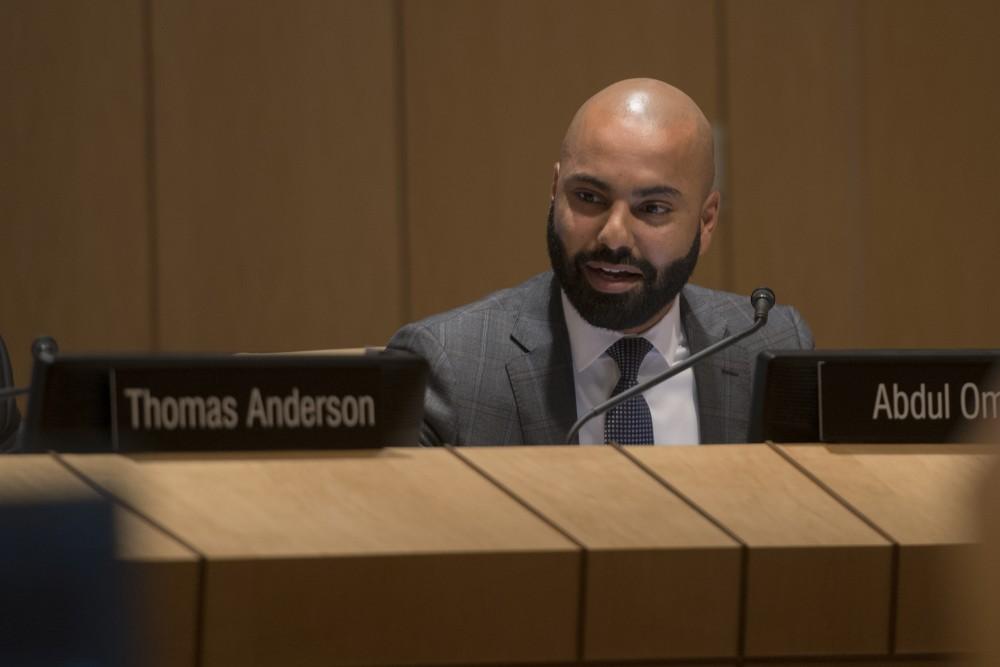 Abdul Omari speaks during the University's Board of Regents meeting on Friday, Sep. 14 at the McNamara Alumni Center.