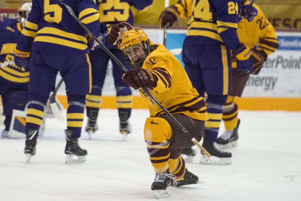 Forward Brent Gates celebrates a scored goal at 3M Arena at Mariucci on Friday, Nov. 2. The Gophers fell to Minnesota State with a final score of 5-1.