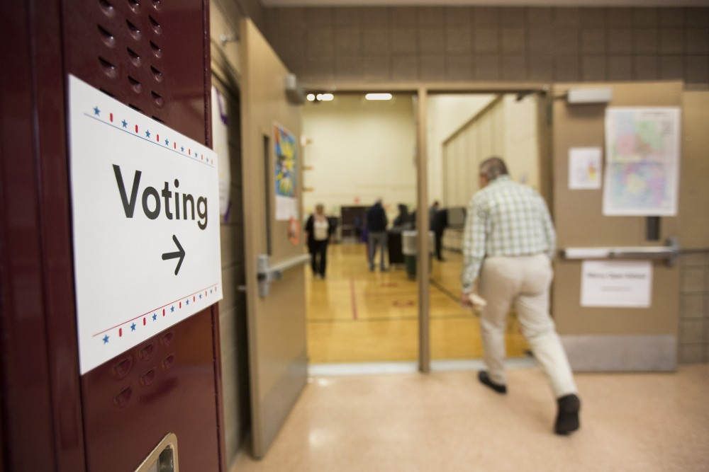 Voters make their way into the gym on Tuesday, Nov. 6 at Marcy Open School in Minneapolis.
