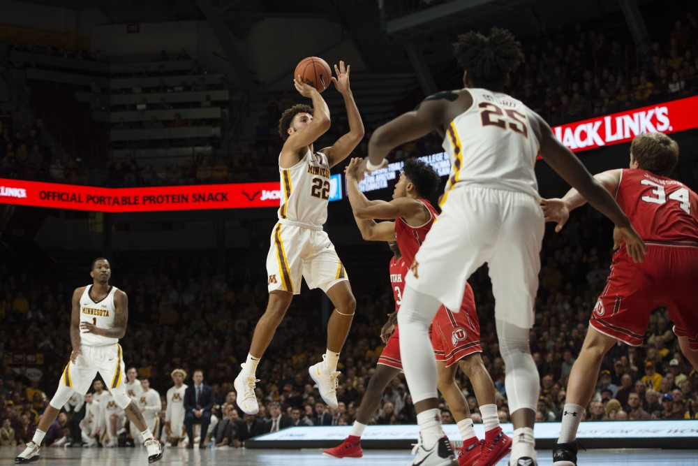 Freshman Gabe Kalscheur floats the ball in on Monday, Nov. 12 at Williams Arena. The Gophers beat the Utes 78-69.