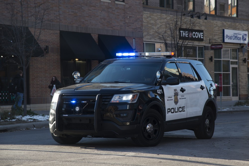 A Minneapolis Police officer patrols Dinkytown on Tuesday, Nov. 13, 2018.