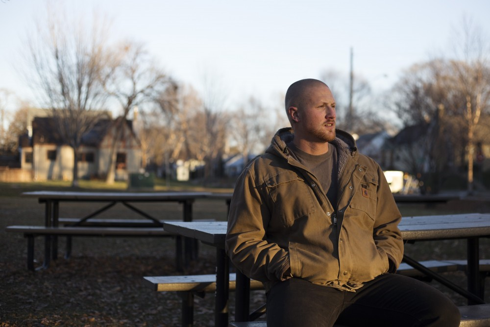 Former University of Minnesota Student Jason Showers poses for a portrait in the park near his home near Lake Nokomis on Saturday, Nov. 17 in Minneapolis. Showers dropped out of the University due to drug and alcohol addictions, and is now studying to become an addiction counselor at Metropolitan State University in Saint Paul.