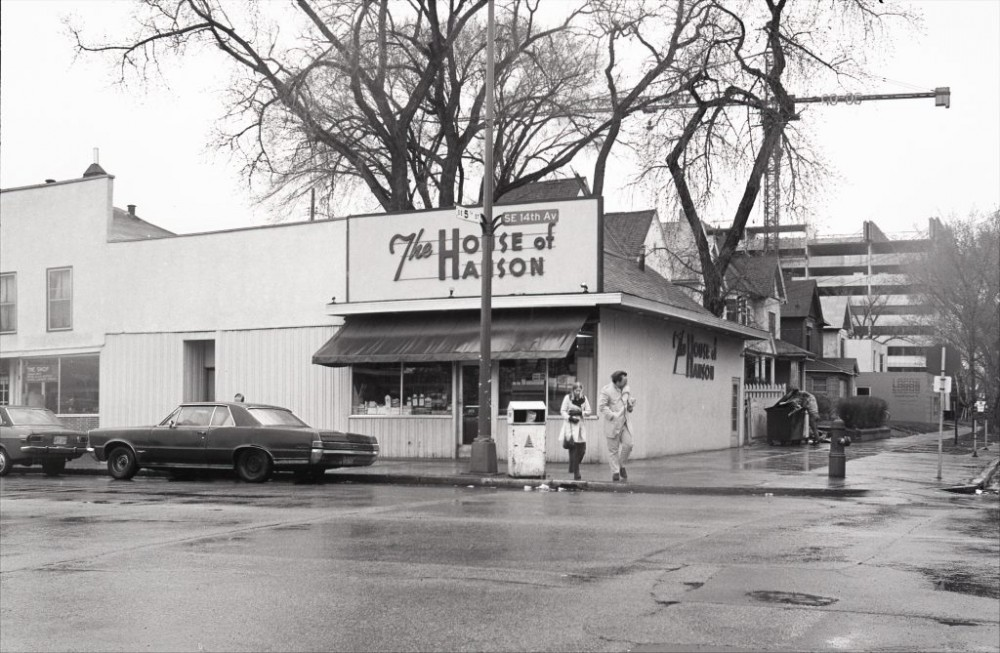 The Chateau Building can be seen under construction behind the House of Hanson Cafe which opened on Oct. 2, 1932. After 81 years of Hanson family ownership, the property was sold in 2013 and became the Venue.