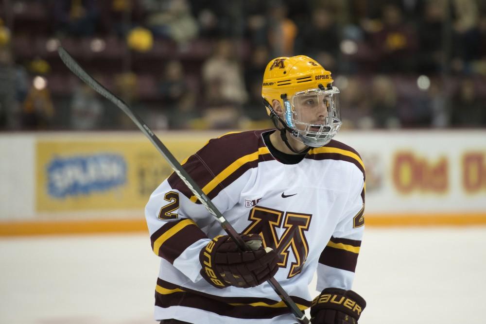 Senior Jack Sadek skates down the ice at Mariucci Arena on Saturday, Nov. 17.