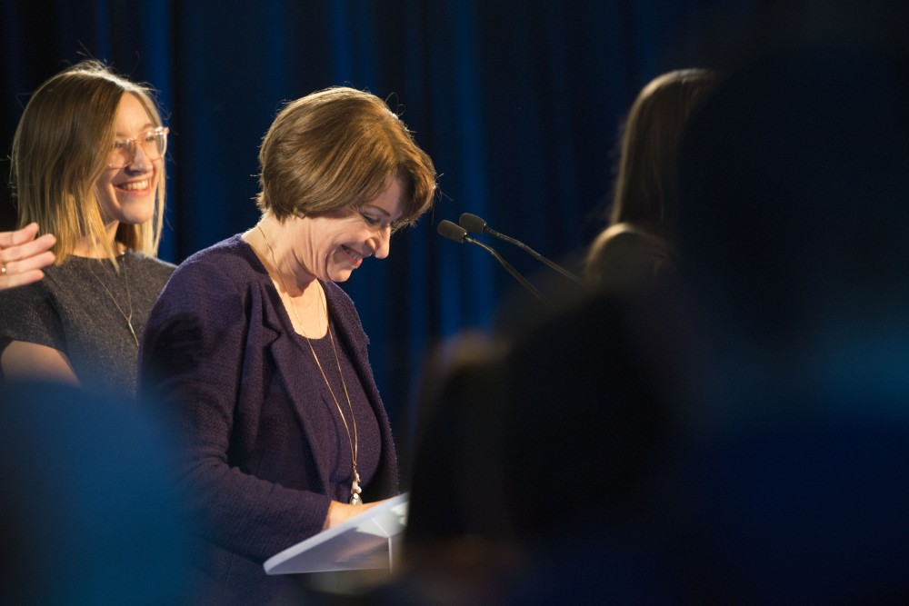 Senator Amy Klobuchar addresses the crowd at Intercontinental Saint Paul Riverfront Hotel in Saint Paul on Tuesday, Nov. 6.