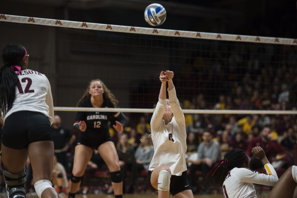 Senior setter Samantha Seliger-Swenson bumps the ball at Maturi Pavilion on Saturday, Dec. 1. The Gophers swept South Carolina in all three sets.