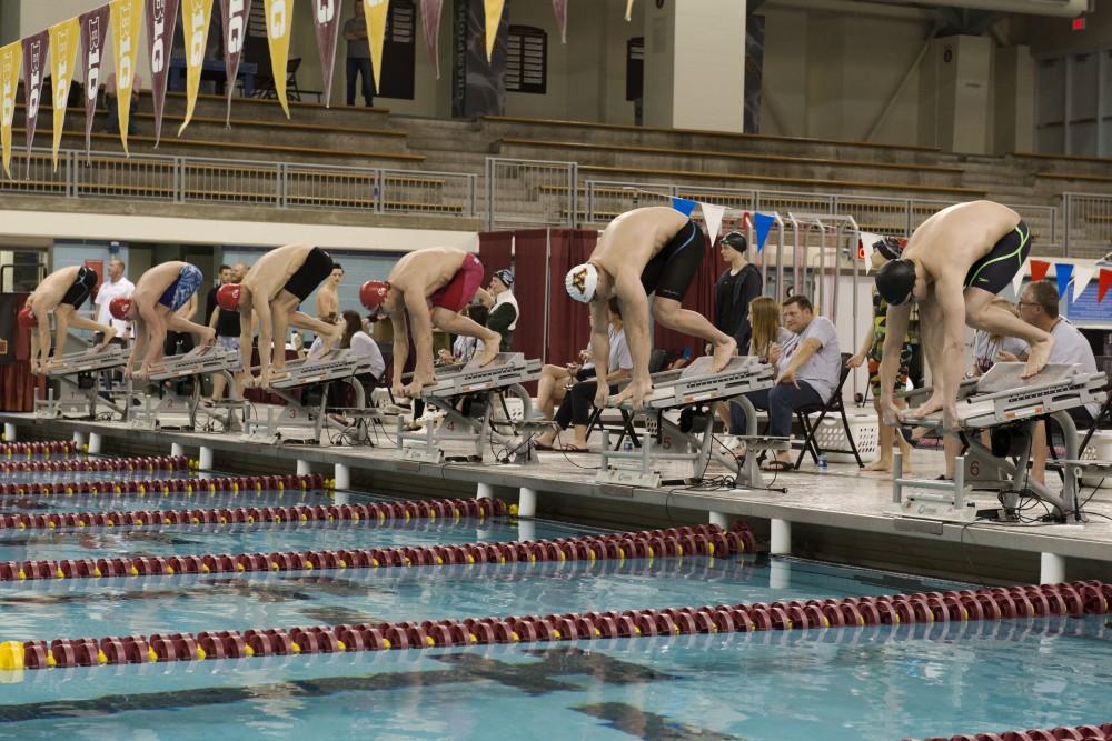 The Gopher swim team hosts an invitational meet Jean K. Freeman center on Friday, Nov. 30.