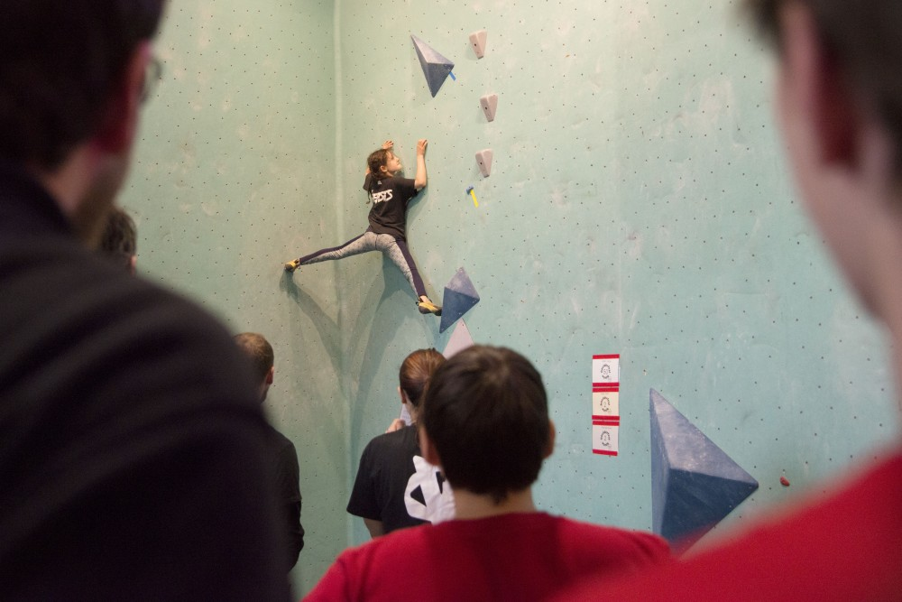 Eva Eakin competes in the youth competition of Boulderfest North on Saturday, Nov. 10 at the Minneapolis Bouldering Project. Boulderfest North was the climbing gym's first competition following its opening in 2017.