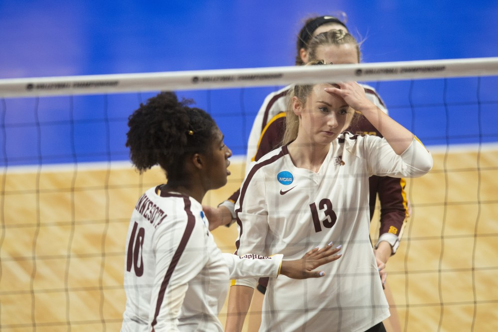 Setter Samantha Seliger-Swenson composes herself at the Maturi Pavilion on Friday, Dec. 7. The Gophers were upset by number fifteen seed Oregon, losing 3 sets to 1.